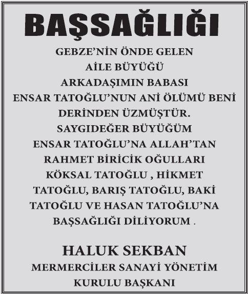 Ensar Tatoğlu ölüm ilanı