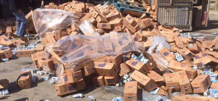 Gebze'de Freni Boşalan Süt Yüklü Kamyon Devrildi