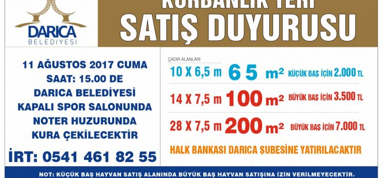 Darıca'da Kurban Alanı Satışları Başladı