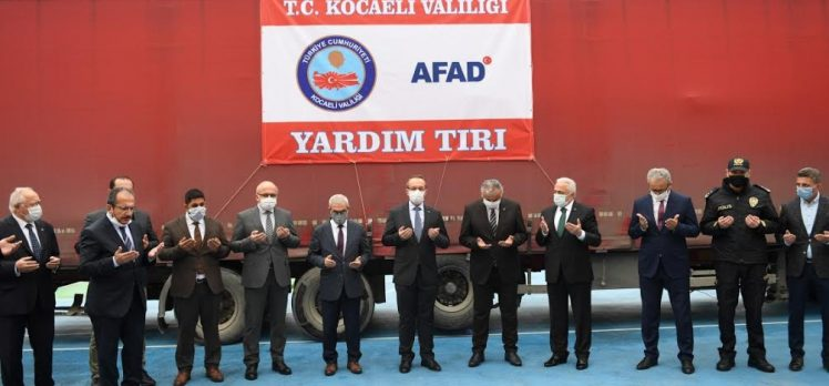 YARDIM TIRI DUALARLA İZMİR'E UĞURLANDI